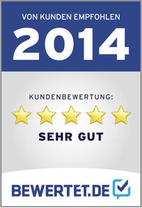 bewertet.de 2014 Kundenbewertung Sehr gut